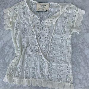 California Moonrise white crochet T-shirt